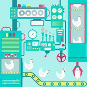Factory of chickens Stock Illustration