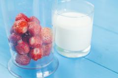 Ingridient for strawberry milkshake Stock Photos