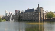 Goverment buildings and hofvijver lake,The Hague,Netherlands Stock Footage