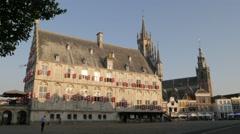 City hall with sint janskerk church,Gouda,Netherlands Stock Footage