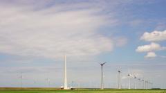 Wind turbines in polder Stock Footage