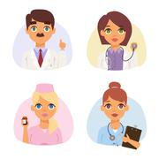 Doctors spetialists faces vector set Stock Illustration