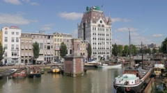 Big houses at small harbour,Rotterdam,Netherlands Stock Footage
