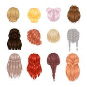 Vector woman hairstyle back view Stock Illustration