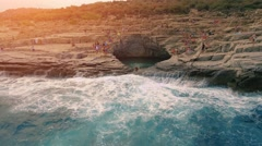 Fast Drone Flight Pan Out Of Natural Swimming Pool Hole On Mediterranean Island Stock Footage