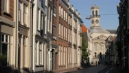 Street towards city hall in old town,Dordrecht,Netherlands Stock Footage