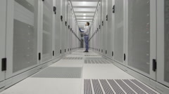 Man in data center Stock Footage