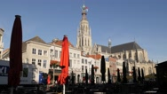 Onze Lieve Vrouwe church and square with parasols,Breda,Netherlands Stock Footage