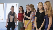 Women are preparing fashion show in model school Stock Footage