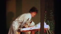 1969: woman giving dog haircut YOSEMITE, CALIFORNIA Stock Footage
