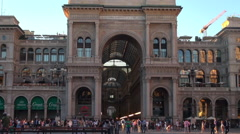 Cathedral Duomo Square near Vittorio Emanuele II Gallery Milan Stock Footage