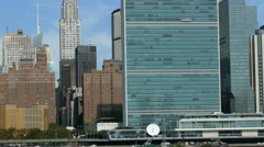 United Nations and Chrysler Building at East River, Manhattan Waterfront Stock Footage