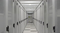 Aisle in data center Stock Footage