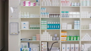 4K Interior view of a modern chemist shop. No people.  Stock Footage