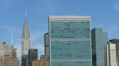 United Nations and Chrysler Building, East River, Manhattan Skyline, New York Stock Footage