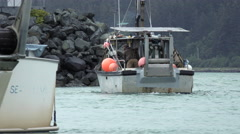 Commercial Fishing Boat Leaving Boat Harbor Stock Footage