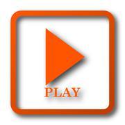 Play icon. Internet button on white background.. Stock Illustration