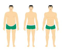 Before and after diet weight loss Stock Illustration