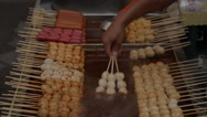Thailand Chiang Mai Food Market Cooking Shishkabobs Stock Footage
