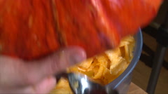 Gutting flesh from pumpkin and shake it out, top view Stock Footage