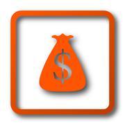 Dollar sack icon. Internet button on white background.. Stock Illustration