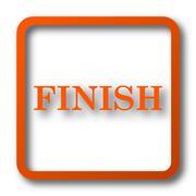 Finish icon. Internet button on white background.. Stock Illustration