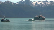 Cruise Ship And Research Vessel With Helicopter on Deck Stock Footage