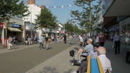 Visitors, tourists and shoppers in Lowestoft's busy high street Stock Footage
