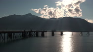 Distant Cruise Ship in Alaska Waters and Light Rays Stock Footage