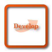 Develop icon. Internet button on white background.. Stock Illustration