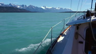 Emerald Sea Water Port Side Sailboat Cruising Stock Footage