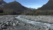 Fast Moving Mountain Stream Wilderness Setting Stock Footage