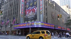 Radio City Music Hall (in 4k), on 6th Avenue, Manhattan, New York City. Stock Footage