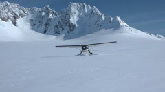 High Mountain Alaska Glacier Bush Plane Stock Footage