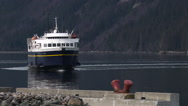 Marine Vessel Ship Pull Back and Mountain Scenery Stock Footage