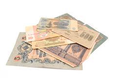 Vintage money. Money USSR. Obsolete. It is no longer valid, expired. Stock Photos
