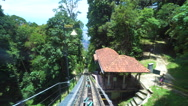 Ride on cable car road on Penang hill, Georgetown, Malaysia. View from inside. Stock Footage