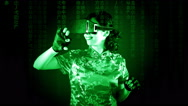 Virtual matrix woman chinese gestures Stock Footage