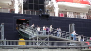 Passengers Off Loading A Cruise Ship Stock Footage