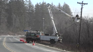 Road Side Power Line Maintenence Stock Footage