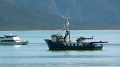 Scientific Research Vessel With Helicopter and Transport Boat Stock Footage