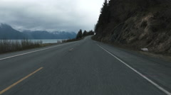 Seaside Alaska Highway POV Driving Stock Footage