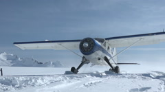 Snowy Aircraft Propeller Wind Down Stock Footage
