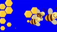 Bee Hive and Flying Bees Movie Transition on a Blue Screen Stock Footage