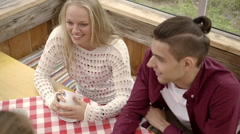 Friends in a cafe Stock Footage