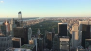 Aerial view (4K) of Manhattan, New York, looking north towards Central Park. Stock Footage