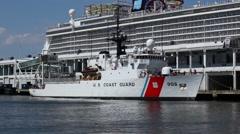 US Coast Guard Ship Docked In NYC Stock Footage