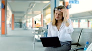 Businesswoman finish working on laptop because of painful headache Stock Footage