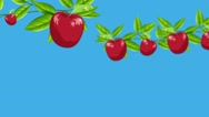 Cartoon Red Apples Growing From Branches in a Zoom Out Shot Stock Footage
