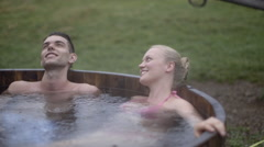 Couple in a hot tub Stock Footage